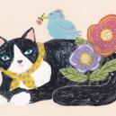 白黒猫とまんまる鳥 hisayo azuma