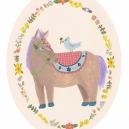 馬と小鳥と花輪 hisayo azuma