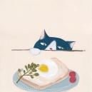 目玉焼きと猫