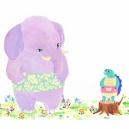 ハラマキ象とハラマキ亀「ほぼ日 ハラマキHP」<br/>アクリルガッシュ  hisayo azuma