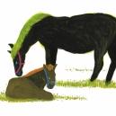 馬の親子 アクリルガッシュ  hisayo azuma