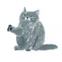猫カットC アクリルガッシュ hisayo azuma