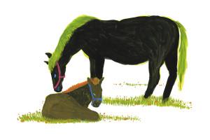 馬の親子 アクリルガッシュ hisayo azuma  東久世(あずまひさよ)